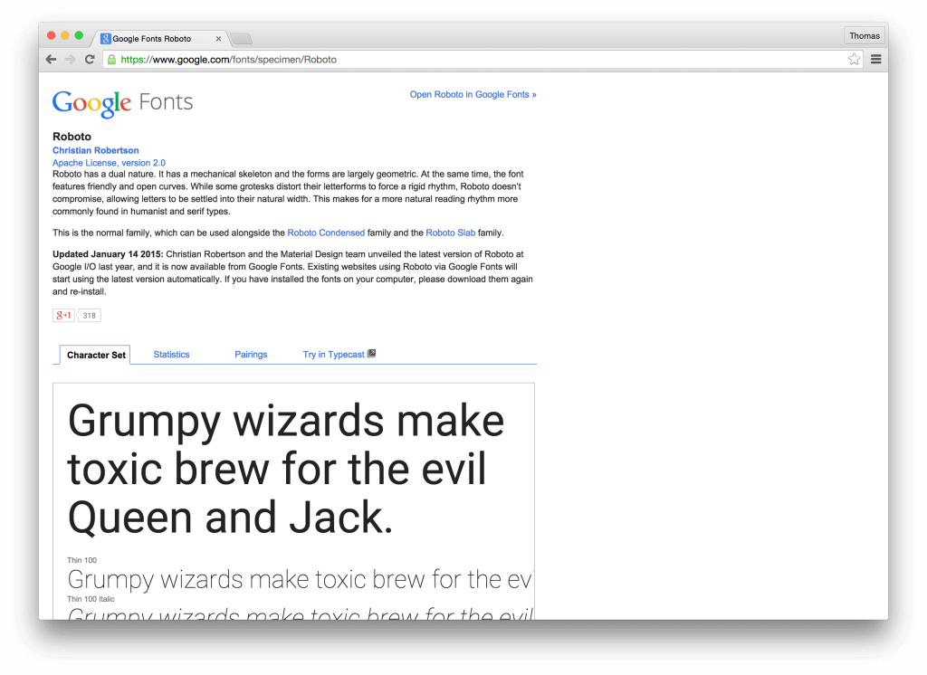 Google Fonts landing page