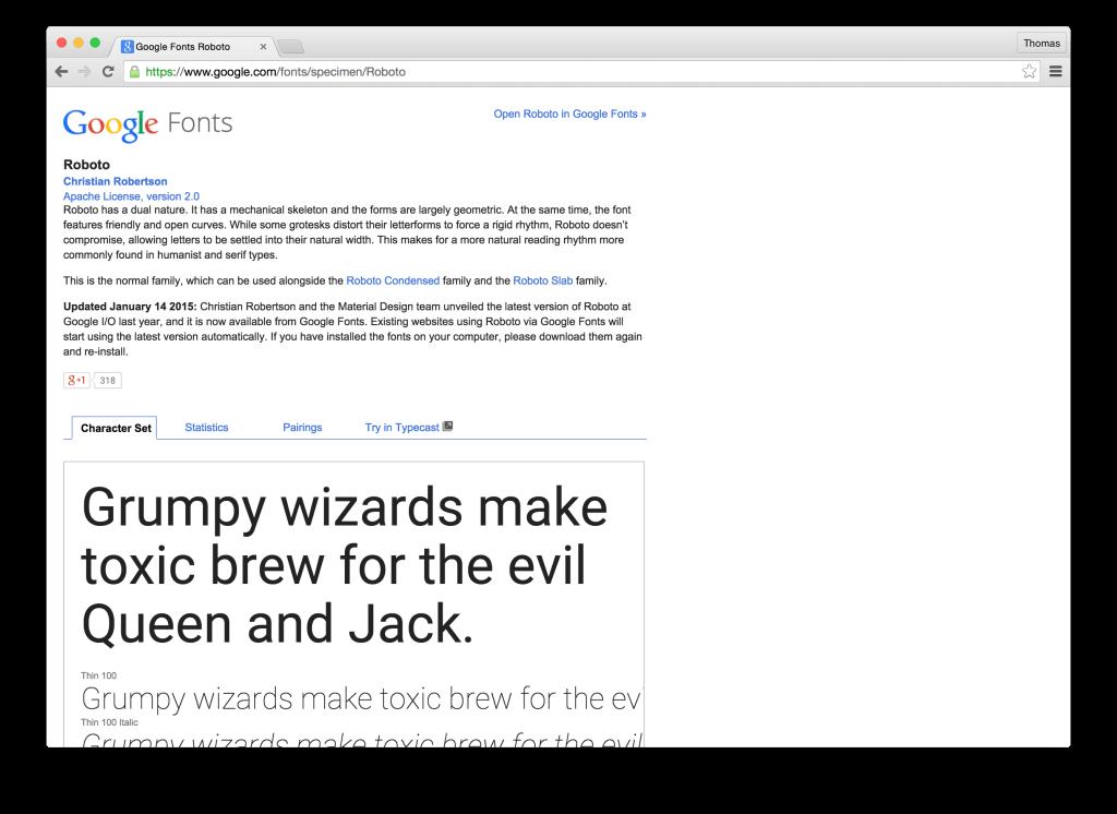 Google Fonts landing page
